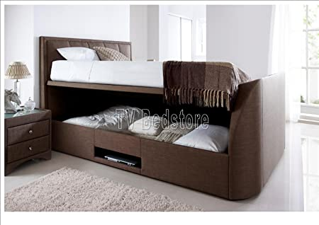 King Size Windermere Cappuccino Fabric Ottoman Storage Tv Bed Frame