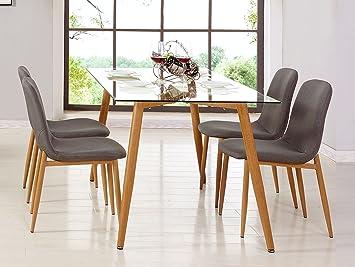 Mobilier Deco Table Scandinave 4 Chaises En Tissu