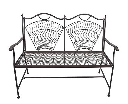 VILAVITA 17.3u0026quot; Height Two Seat Bench Metal Dining Bench Chair, Indoor  Furniture