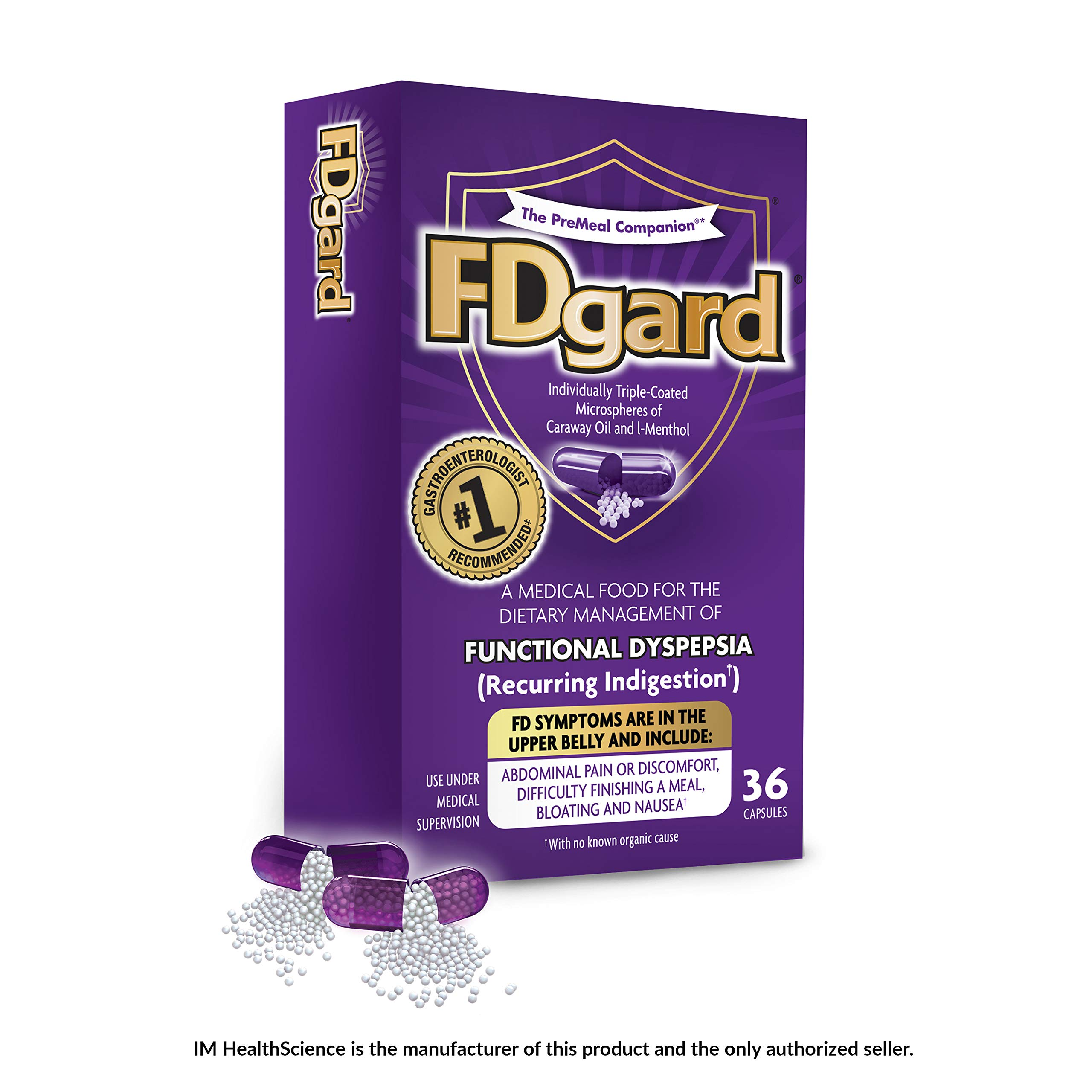 FDgard® for Functional Dyspepsia (Recurring Indigestion) Symptoms Including, Abdominal Pain & Discomfort, Nausea, Bloating, Difficulty Finishing a Meal, 36 Capsules by FDgard
