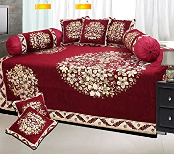 f16ad8f0c The Intellect Bazaar 500 TC Chenille Velvet floral Diwan Set (Set of ...