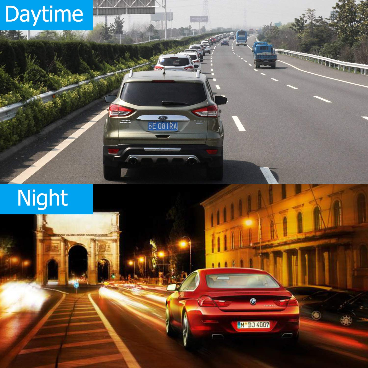 10 Inch Touch Screen Car Camera 10 Rearview Mirror FHD 1080P Dash DVR Cam Backup Camera Night Vision Front and Rear Dual Lens Video Recorder Reversing