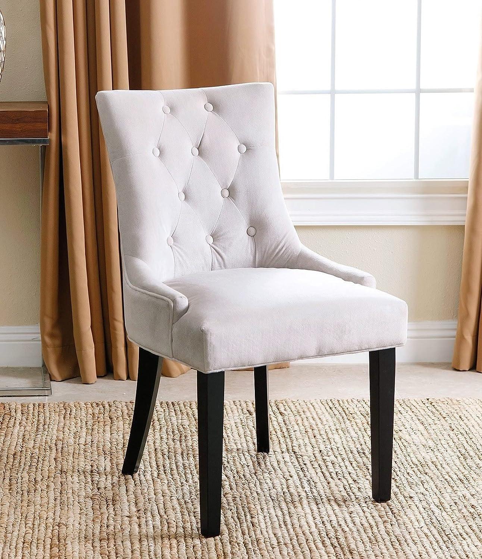 Amazon Abbyson Zuma Cream Microsuede Tufted Dining Chair