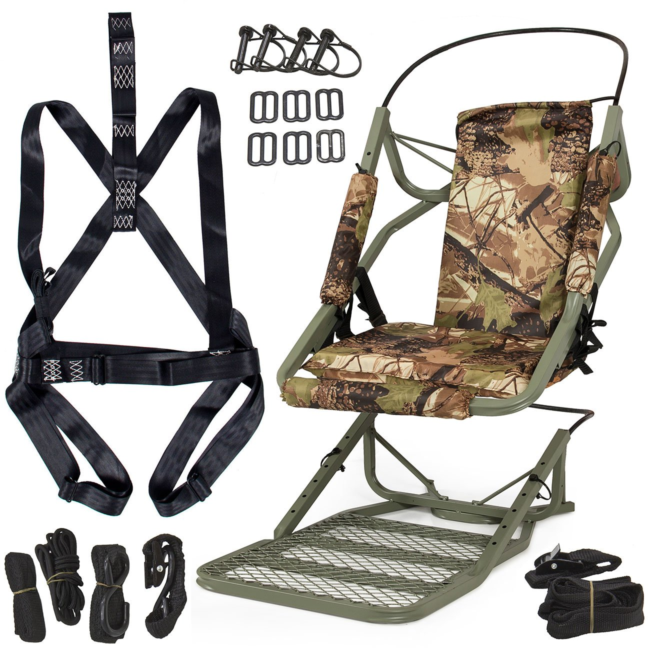 ARKSEN Portable Tree Stand Climber Climbing Hunting Deer Rifle Bow Game Hunt Outdoor w/Body Strap Kit