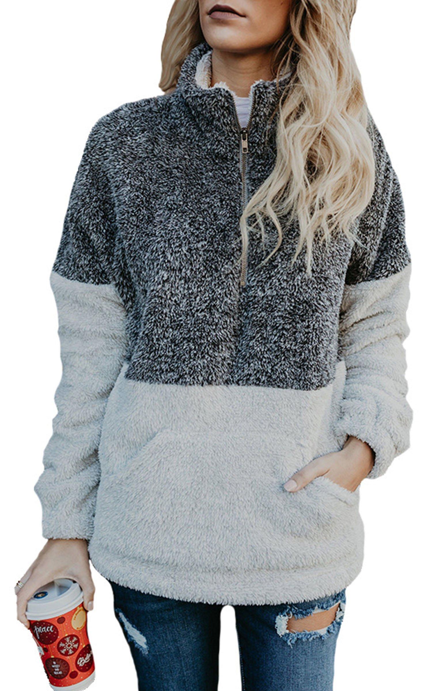 Angashion Womens Long Sleeve Half Zip Fuzzy Fleece Pullover Jacket Outwear Sweatshirt Tops Coat with Pocket Black Grey L