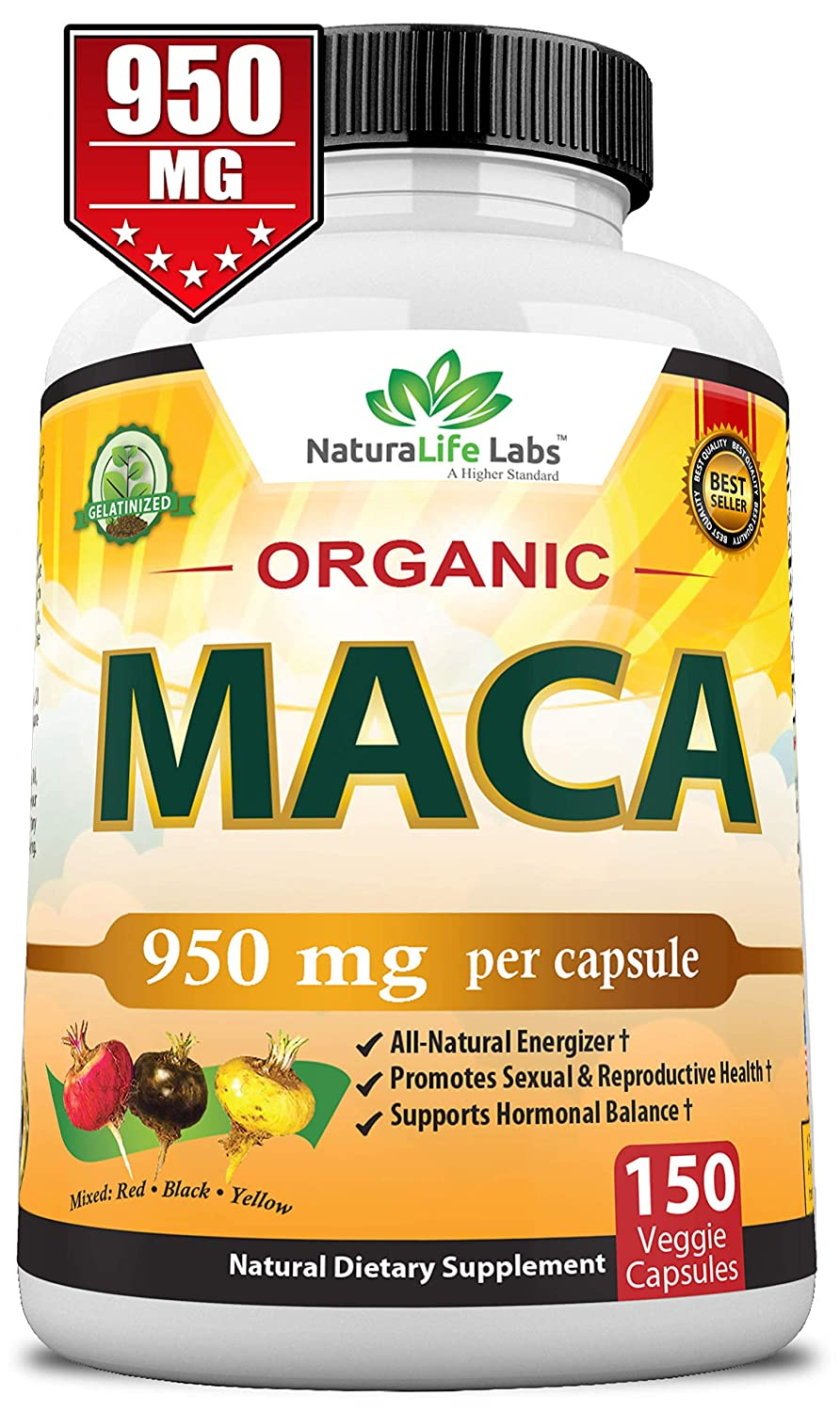 Organic Maca Root Black, Red, Yellow 950MG per capsule 150 vegan capsules  Peruvian Maca Root