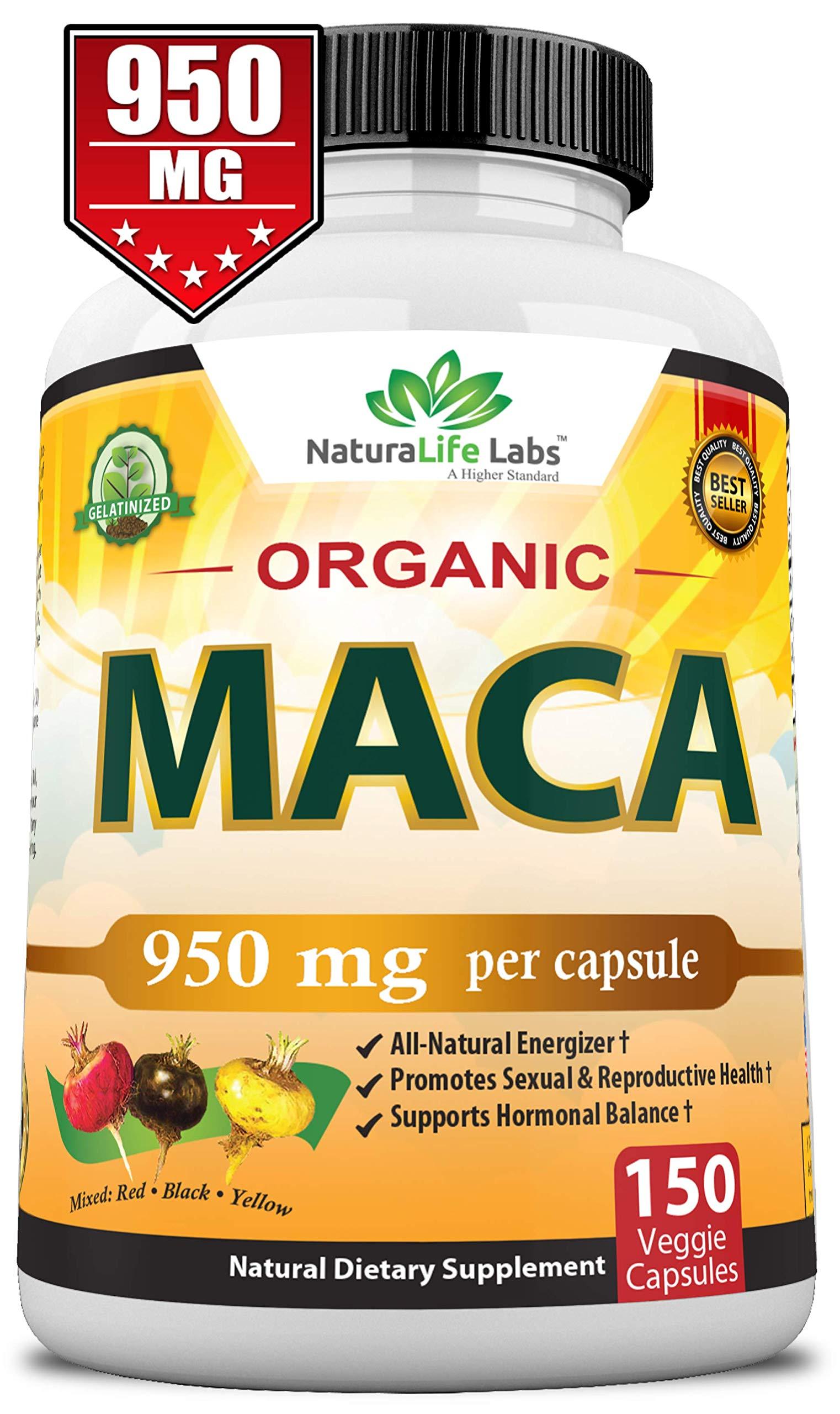Organic Maca Root Black, Red, Yellow 950MG per capsule 150 vegan capsules Peruvian Maca Root Gelatinized 100% Pure Non-GMO supports Reproductive Health Natural Energizer by NaturaLife Labs