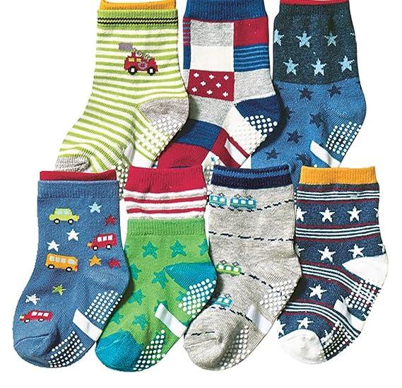 Cczmfeas Calcetines antideslizantes para niños pequeños Calcetines deportivos con calcetines de algodón para 7 pares: Amazon.es: Ropa y accesorios