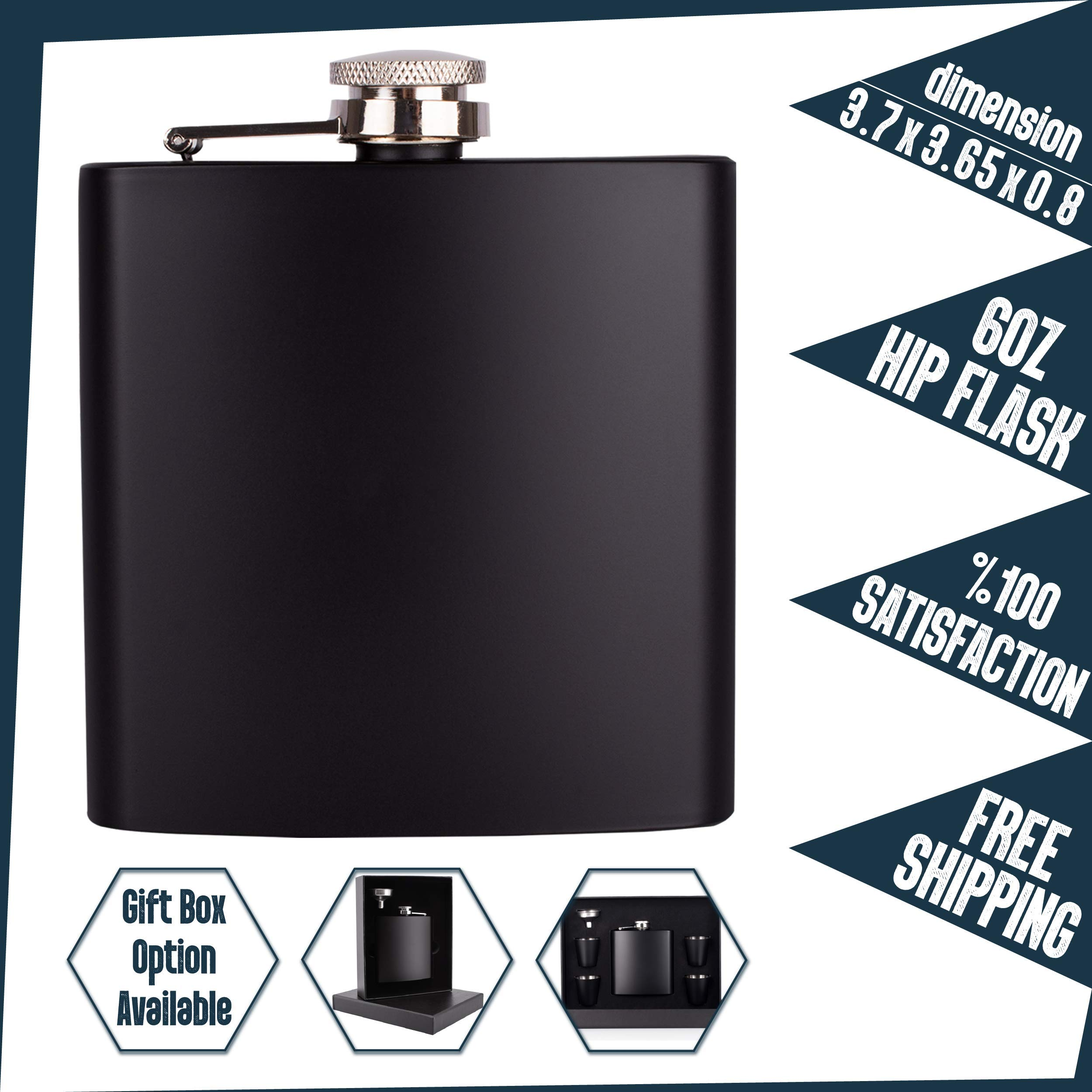 Personalizedgiftland Personalized Flask, Set Of 6 - Customized Flask Groomsmen Gifts For Wedding Favors, Personalized Groomsman gift - Stainless Steel Engraves Flasks w Gift Box Options - 6oz, Black by PersonalizedGiftLand (Image #5)