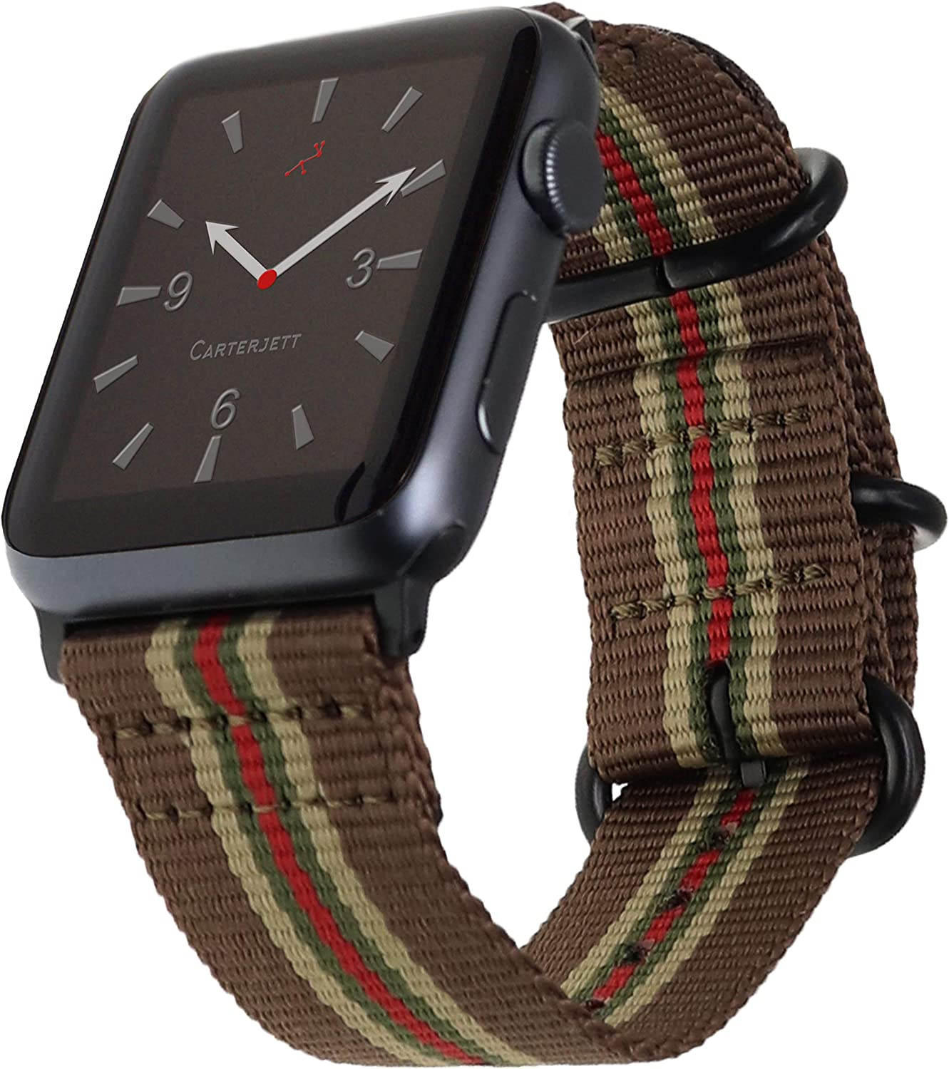 Carterjett Compatible with Apple Watch Band 42mm 44mm Nylon Vegas Stripe iWatch Bands Retro Brown Replacement Strap Durable Adapters Buckle for Series 5 Series 4 3 2 1 (42 44 S/M/L Vegas Stripe)