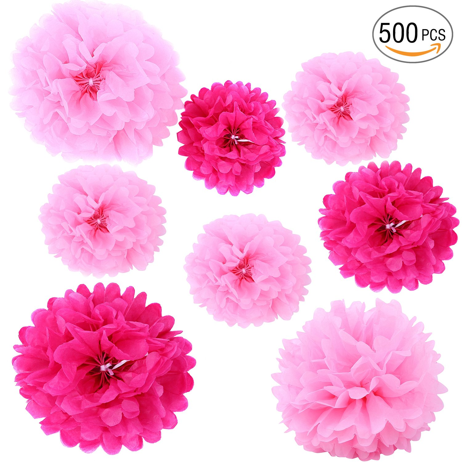 Tissue Paper Pom Poms - 5 pcs Ohuhu Paper Flowers, Decorations Crafts Pompoms Great for Baby Shower & Wedding Bridal Birthday Fiesta Holiday Event Pink Party Decorations COMINHKPR138551