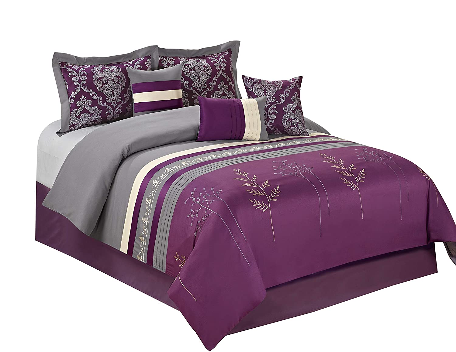 HIG 7 Piece Comforter Set Cal.King-Purple Microfiber Embroidery and Patchwork-DALA Bed in A Bag Cal.King Size-Soft, Hypoallergenic,Fade Resistant-1 Comforter,2 Shams,3 Decorative Pillows,1 Bedskirt