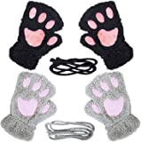 Loritta 2 Pairs Womens Cat Paw Gloves Winter Plush Faux Fur Cute Kitten Fingerless Mittens