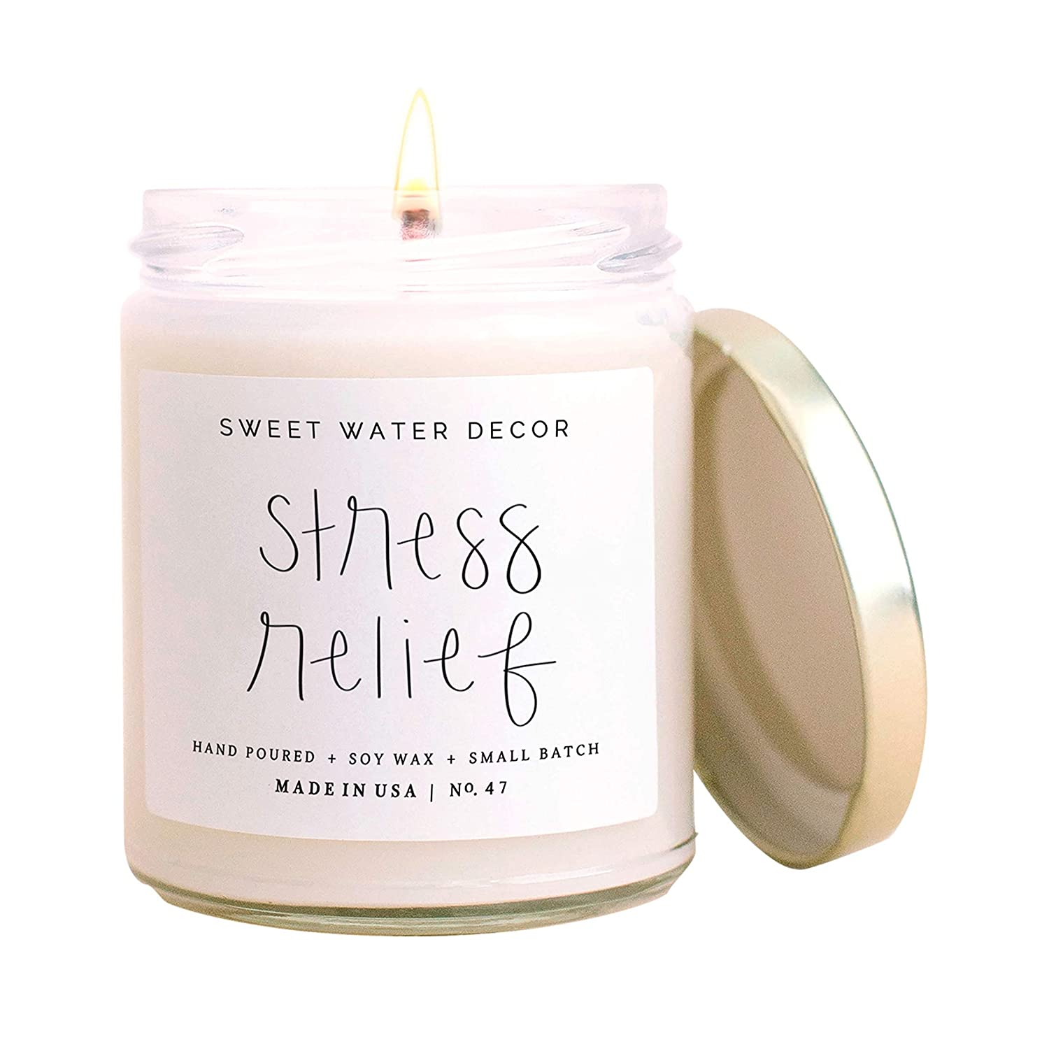 Sweet Water Decor Stress Relief Candle | Eucalyptus, Spearmint, Citrus, Sage, Relaxing Scented Soy Candles for Home | 9oz Clear Glass Jar, 40 Hour Burn Time, Made in the USA