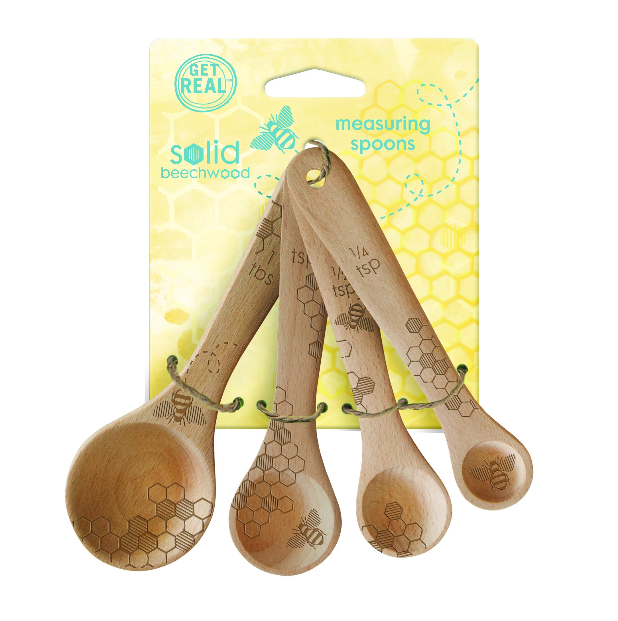 Talisman Designs Beechwood Measuring Spoons, Laser Etched with Honey Bee Art, 1-TBS, 1-tsp, 1/2-tsp, 1/4-tsp