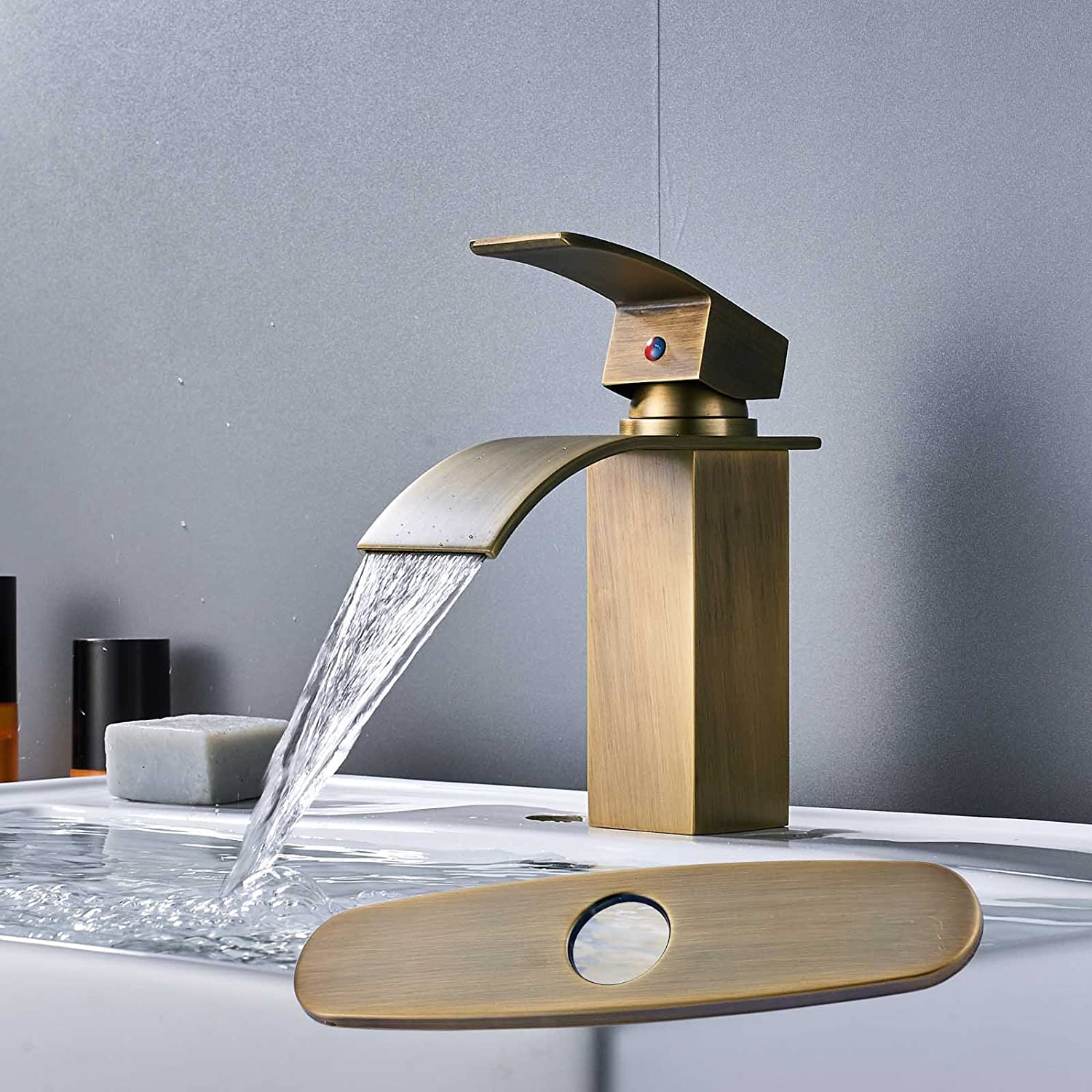 Zovajonia Single Lever Bathroom Waterfall Spout Basin Sink Vanity ...