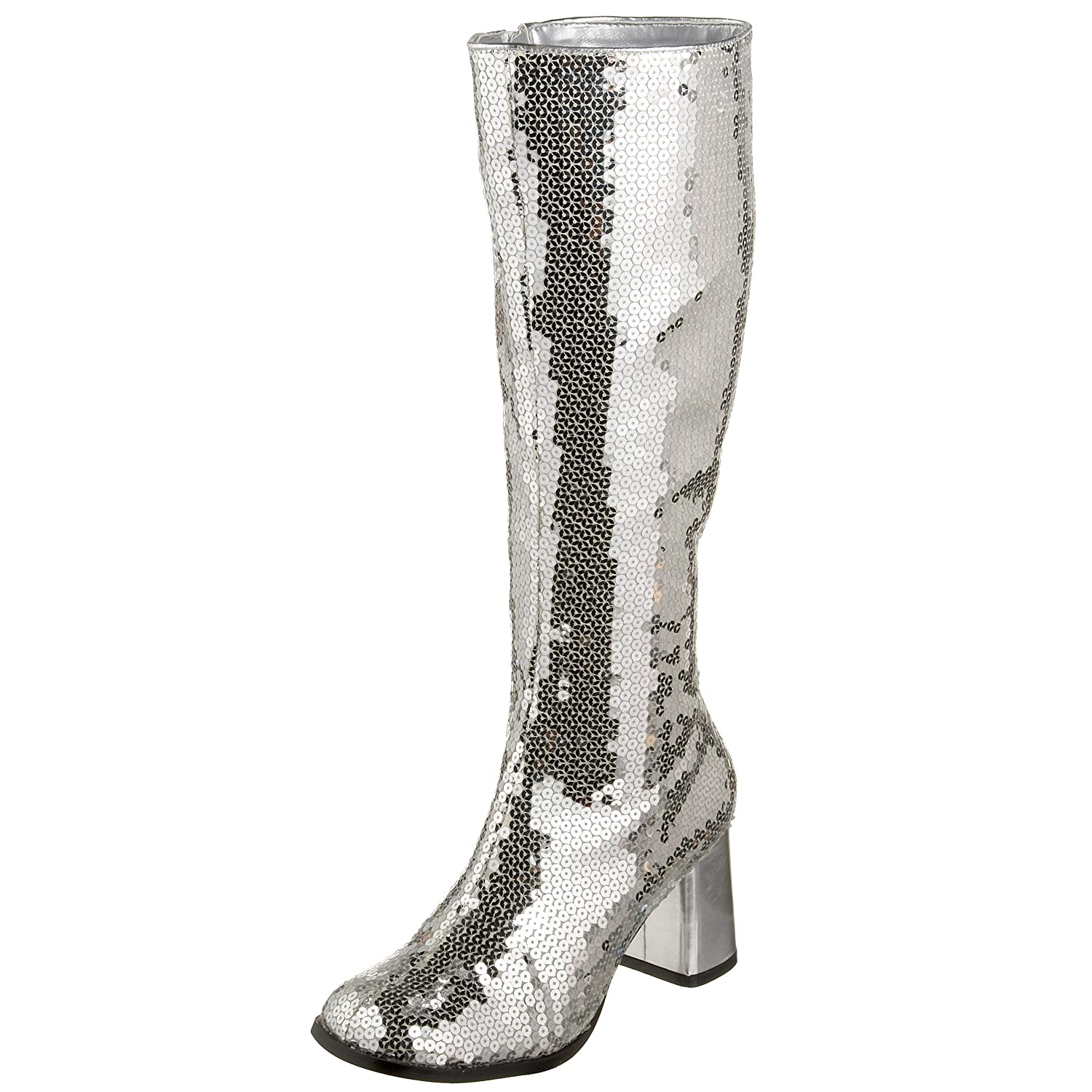 Pleaser Bordello by Women's Spectatcular-300 Sequin Gogo Boot B001TV07Y8 9 B(M) US|Silver Sequins