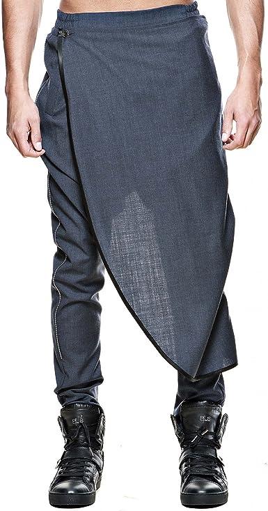 Pantalón Sarouel hombre gris oscuro falda détachable Zip Design ...