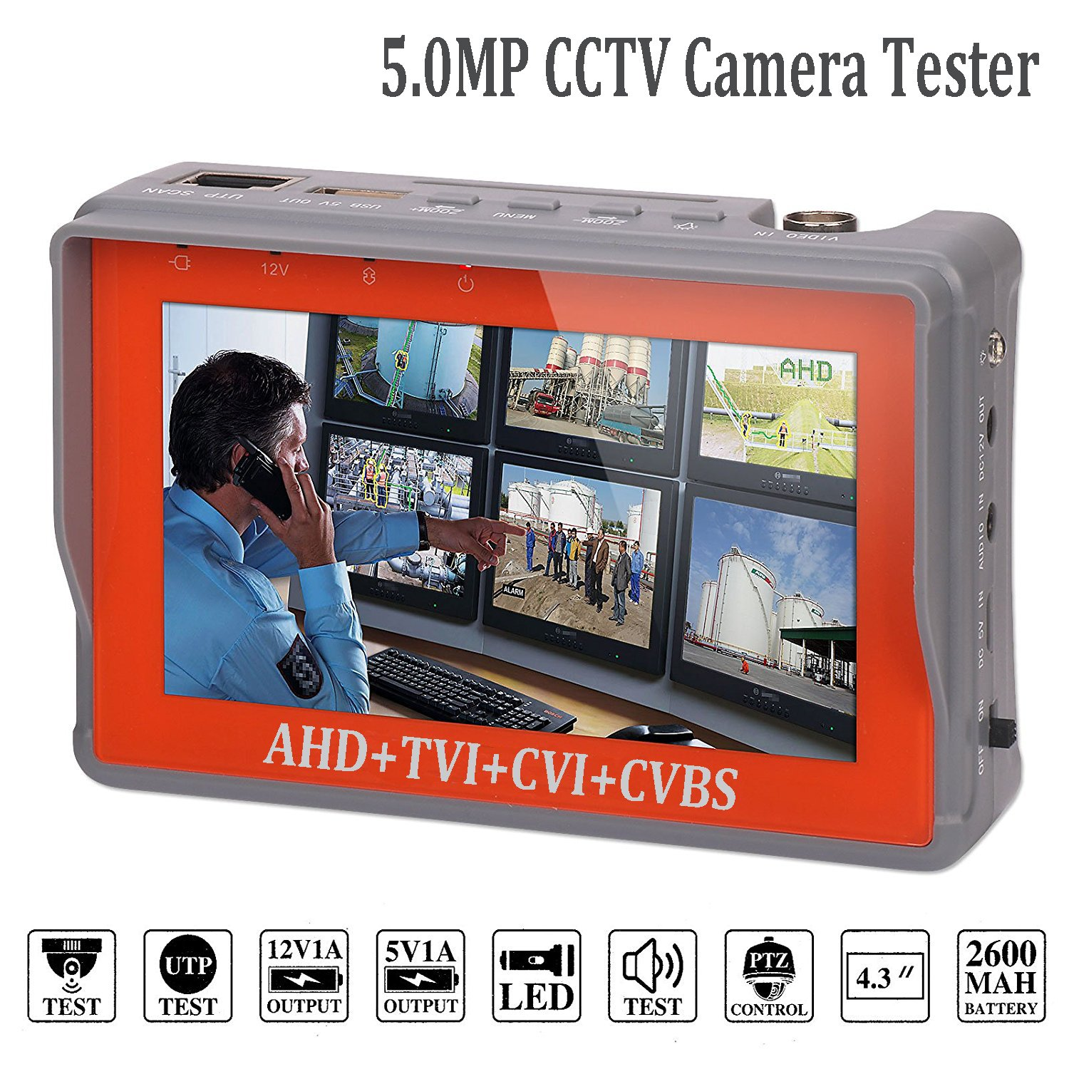 4 in 1 CCTV Tester for 1080P/3.0mp/4.0mp/5.0 Megapixel AHD, TVI, CVI, CVBS Analog Security Camera, 4.3 inch LCD Screen Video Monitor, 12V 1A DC Power Out, PTZ/UTP Cable/Audio Tester w/ 2600mAh Battery by ZUEXT