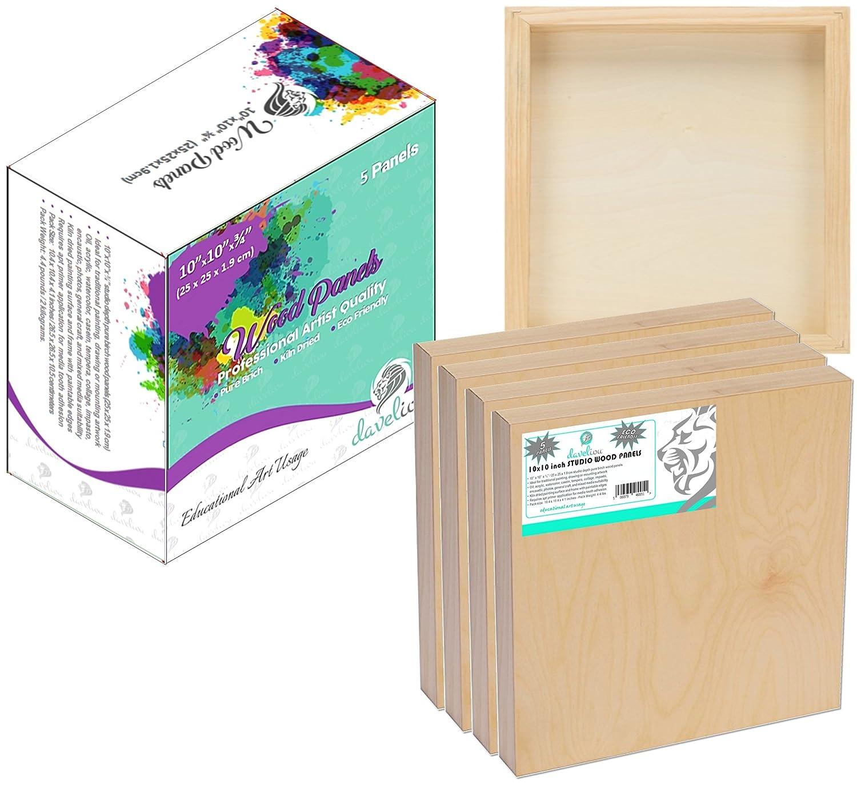 Daveliou - Tabla de madera para pintar unidades, (25 x 25 cm, 5 unidades, pintar madera de abedul y tableros de paneles de madera – Suministros de lienzo de madera utilizados por artistas para pintura y arte endémico a77099