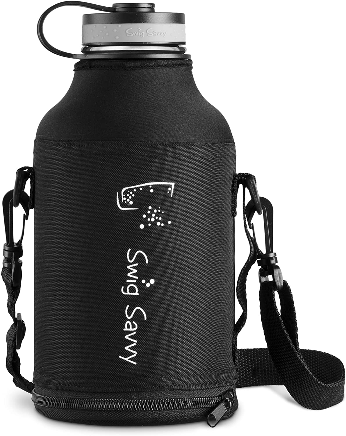 Swig Savvy Stainless Steel Water Bottle Reusable Sweat Proof Thermos Flask for Hot /& Cold Drinks with Coffee Lid /& Carrying Sleeve Pouch 64 oz Vacuum Insulated /& Wide Mouth Design