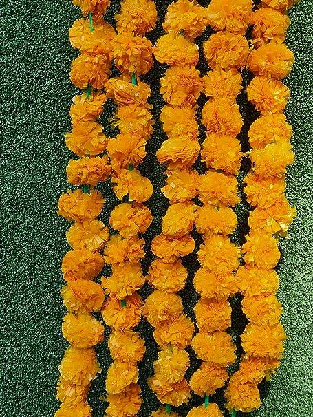 25 Pcs Set Artificial Marigold Flower Garlands Diwali Indian Wedding Decoration