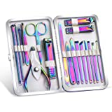 2020 New Rainbow Manicure Kits 18 Pcs Nail Clippers for Women Gift SFYDOM Women's Rainbow Leather Manicure Set (18…