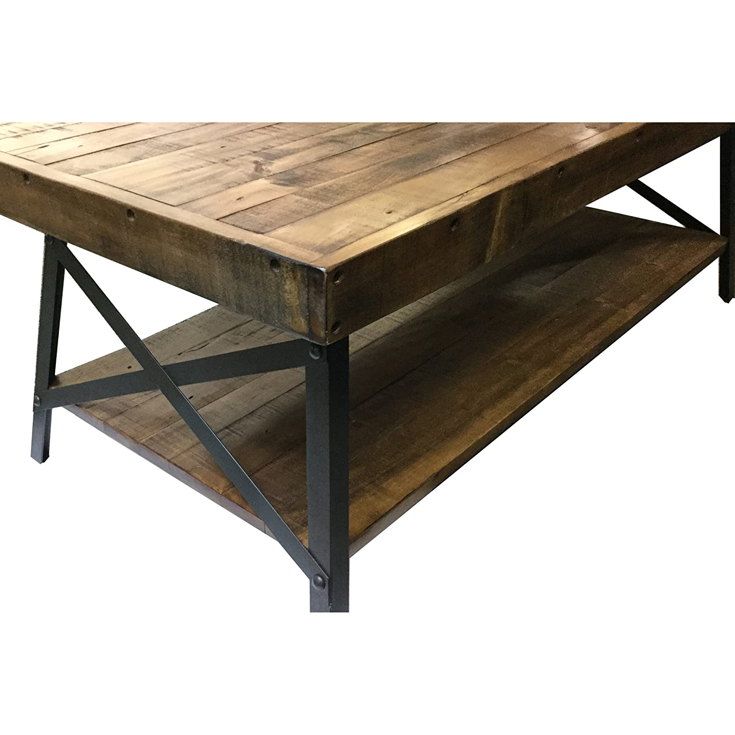 Amazon Emerald Home Chandler Rustic Industrial Solid Wood and