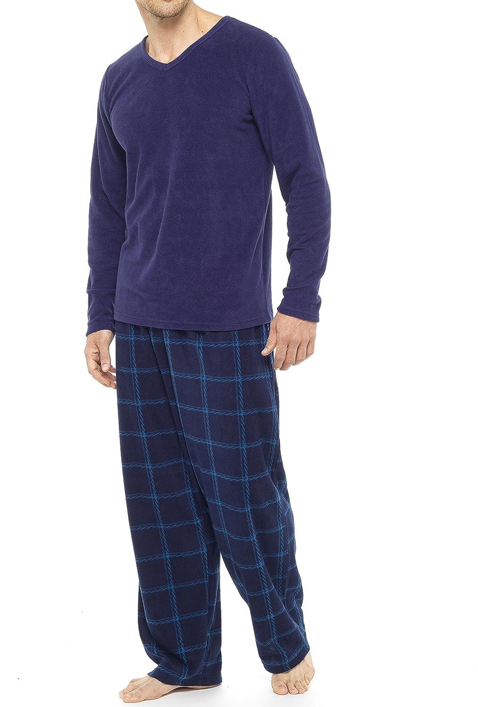 Tom Franks Pigiama da uomo 2 pezzi: pantaloni a quadri e maglietta in pile HT038