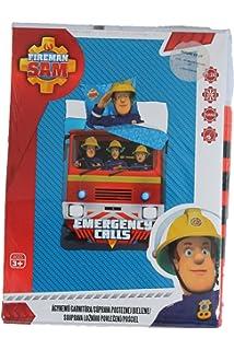 d7ceb8914290af Parure de lit Sam Le Pompier - Housse de couette réversible lit 1 personne