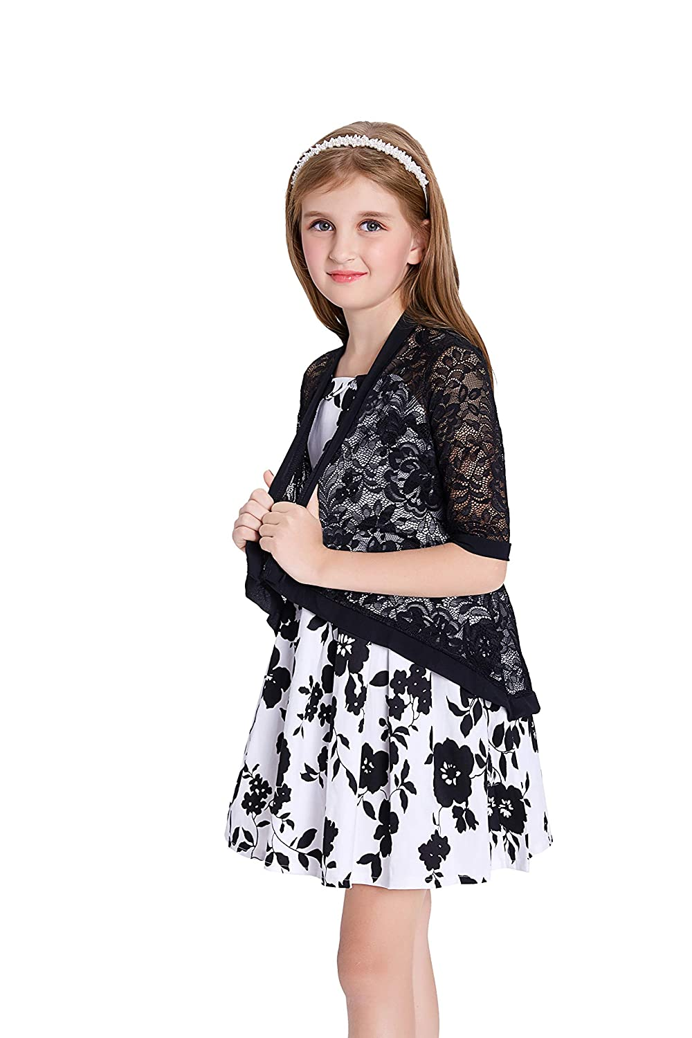 Danna Belle Girls 3//4 Sleeve Open Front Lace Irregular Hem Cardigan Shrug Grey, 7Y