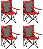 (4) COLEMAN Broadband Camping Folding Quad Chairs w/ Mesh Back & Transport Bag