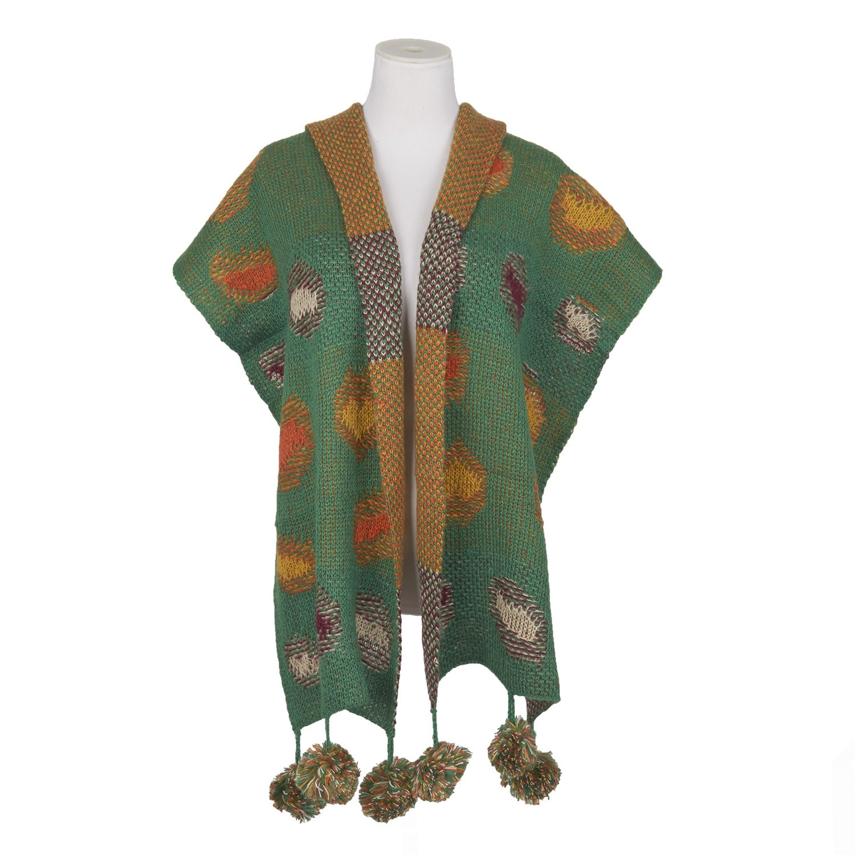 Double Face Knit Jacquard Weave Patch Scarf Muffler Colorful Warm Fashion Girls (Green)
