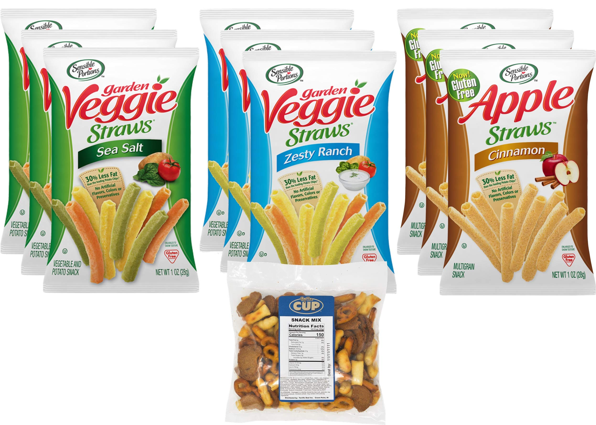 Sensible Portions Veggie and Apple Straws Variety Pack, 9 Count 1 Ounce Bags, 3 Different Flavors with By The Cup Snack Mix by By The Cup