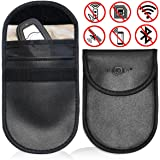 Faraday Cage Shield Car Key Fob Signal Blocking Pouch Bag, Faraday Bag Rfid Key Fob, Fob Guard Keyless Entry Remote Rfid, Antitheft Lock Devices, Car Key Protector WIFI/GSM/LTE/NFC/RF Blocker (2 Pack)