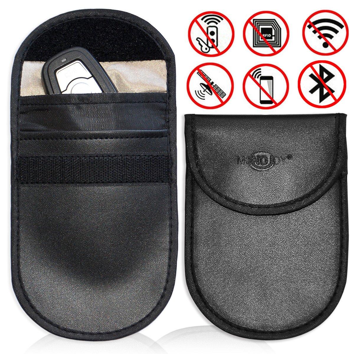 Faraday Cage Shield Car Key Fob Signal Blocking Pouch Bag, Faraday Bag Rfid Key Fob, Fob Guard Keyless Entry Remote Rfid, Antitheft Lock Devices, Car Key Protector WIFI/GSM/LTE/NFC/RF Blocker (2 Pack) MONOJOY B077XTMHZW