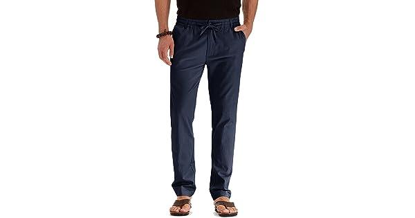 19de29df7b4d Mr.Zhang Men s Drawstring Casual Beach Trousers Linen Summer Pants Navy  Blue-US 32