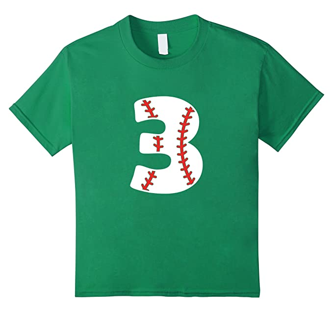 Kids 3 Year Old Baseball Birthday Shirt 3rd Boys 4 Kelly Green