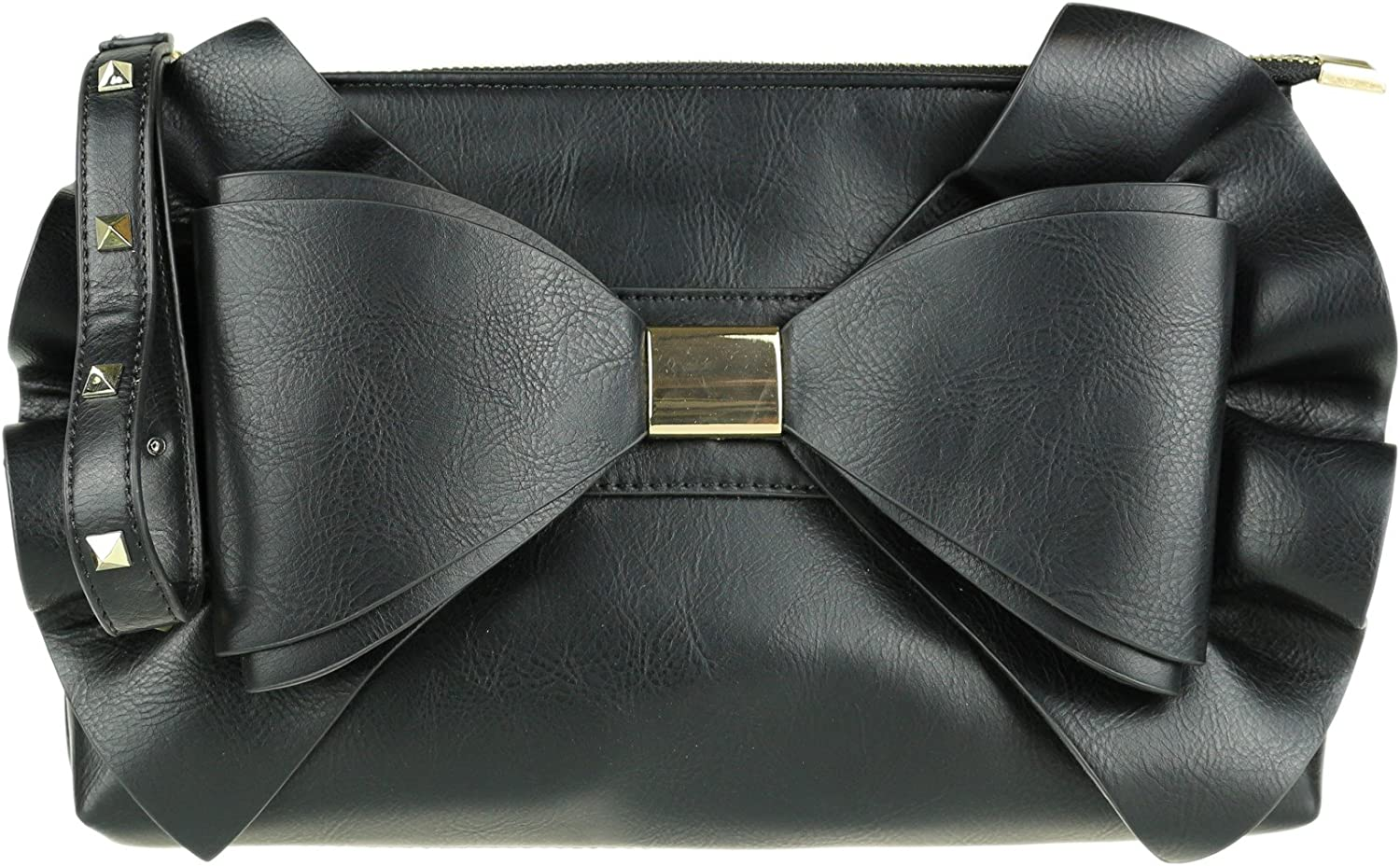 Girly HandBags Big Bow Clutch Bag Black: Amazon.co.uk