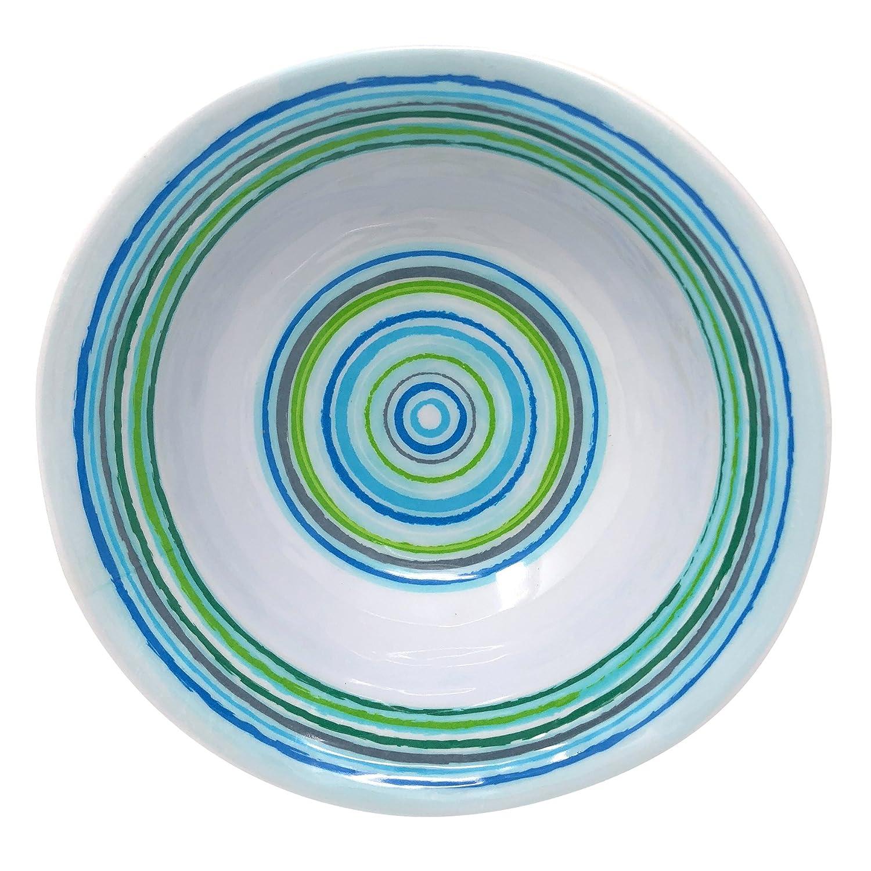 Marine Blue//Lime Set of 6 21025-S6 Merritt Mystique Stripe 6-inch Melamine Salad Bowl
