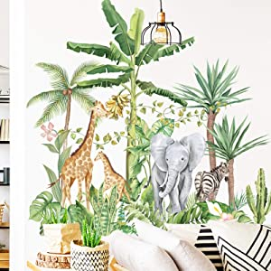 Tropical Rainforest Animals Plants Wall Stickers, Removable Cartoon Elephant Giraffe Nordic Plant Wallpaper Decor, Peel and Stick Art Murals for Kids Bedroom Background Nursery Home Decorations