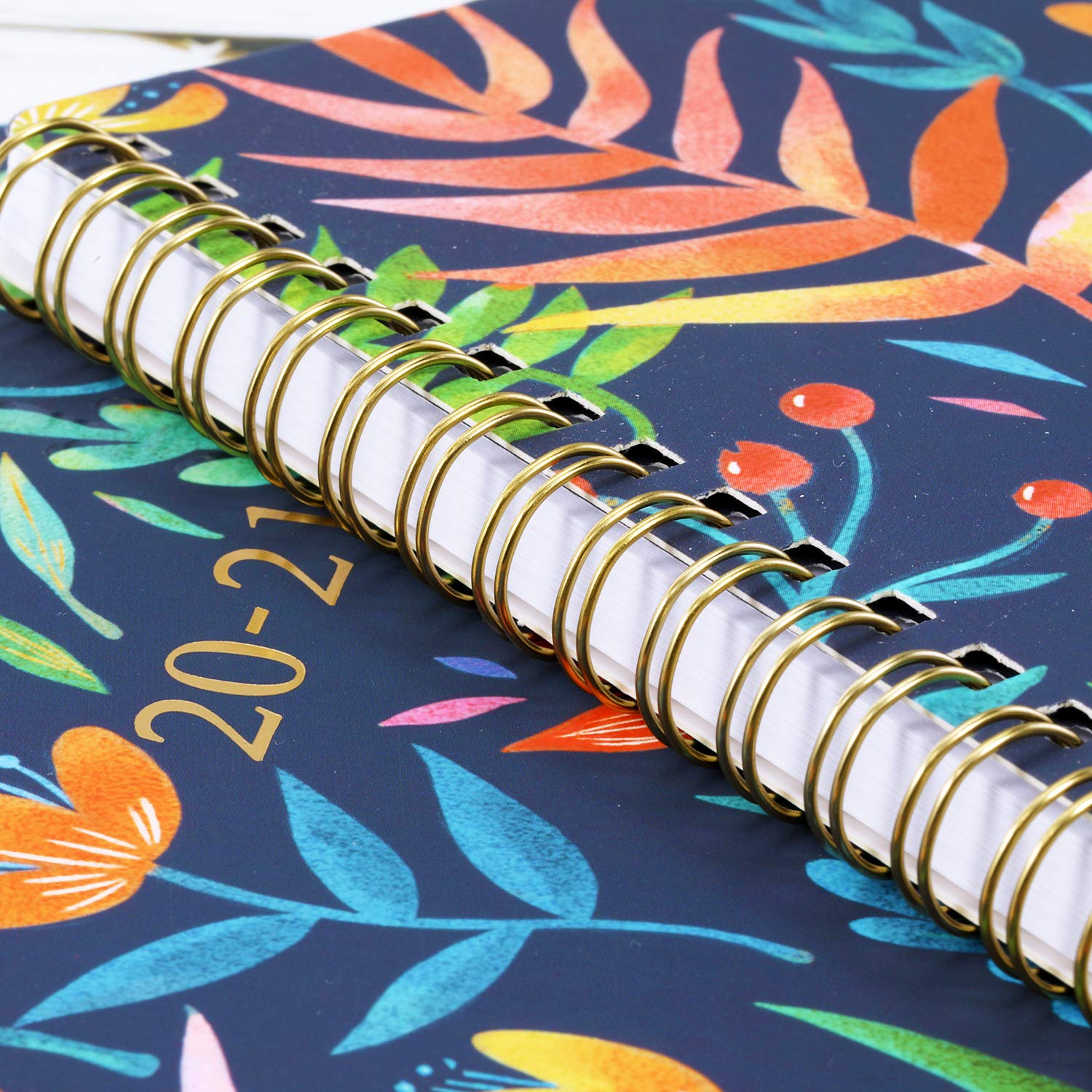Thick Paper 2020-2021 Planner 8 x 10 Navy Floral Twin-Wire Binding Banded July 2020 June 2021 Academic Weekly /& Monthly Planner with Marked Tabs Hardcover with Back Pocket