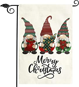 Unves Gnome Merry Christmas Garden Flag 12.5x18 Inches, Gnome Garden Flag Double Sided Christmas Flag Burlap for Winter Holiday House Yard Lawn Outdoor Christmas Decorations