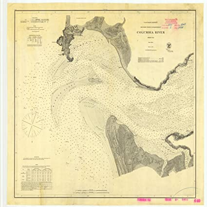 Amazoncom Vintography 8 X 12 Inch 1875 Us Old Nautical Map Drawing - Columbia-river-map-us