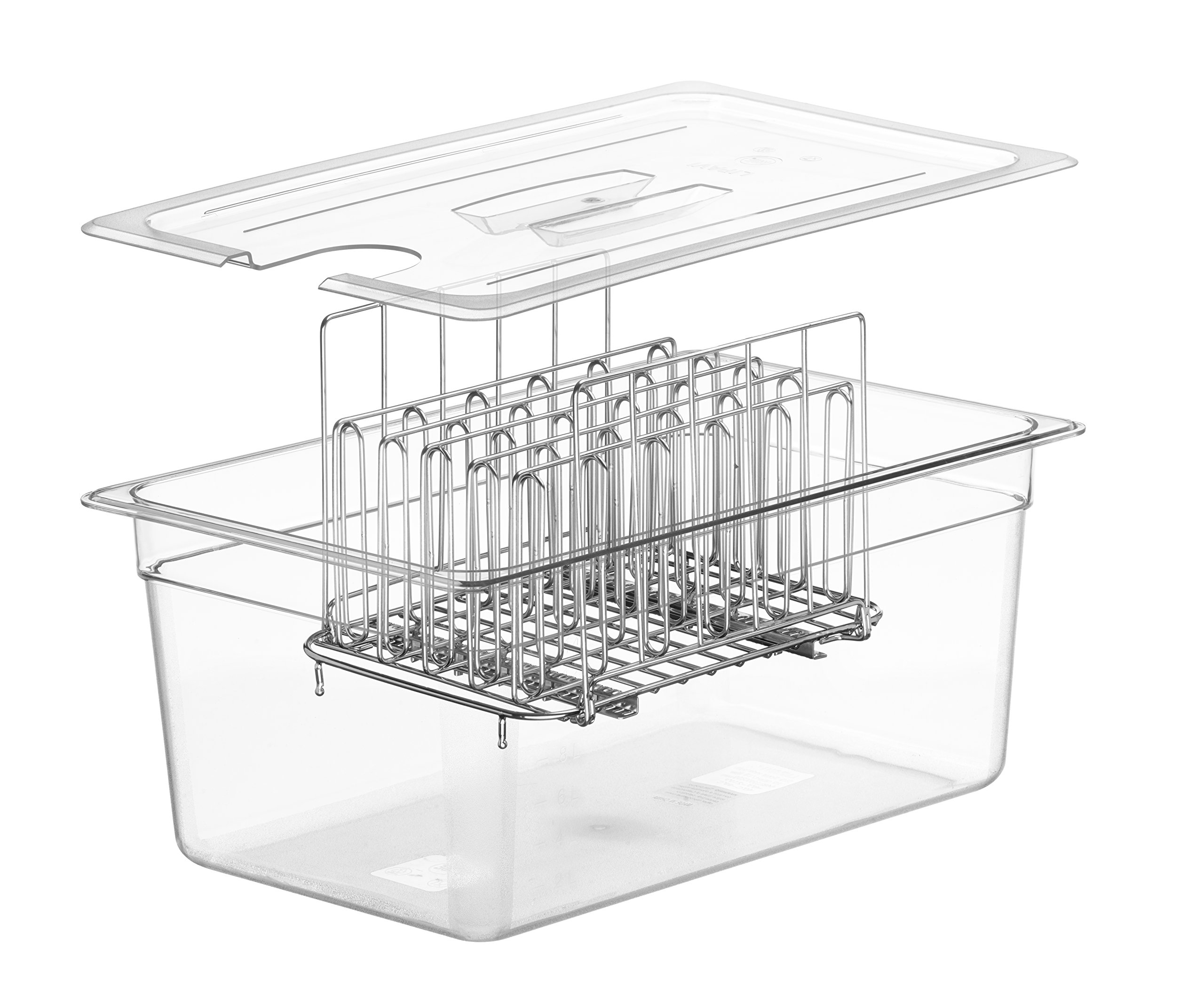 LIPAVI Sous Vide Rack - Model L15 - Marine Quality 316L Stainless Steel - Square 10.8 x 8 Inch - Adjustable, Collapsible, Ensures even and Quick warming - Fits LIPAVI C15 Container by LIPAVI (Image #6)