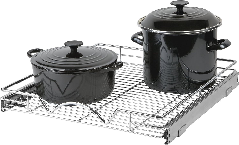 Organizador de gabinete deslizante – Organizador de armario de cocina deslizante y extraíble debajo del gabinete ollas y sartenes, Cromado