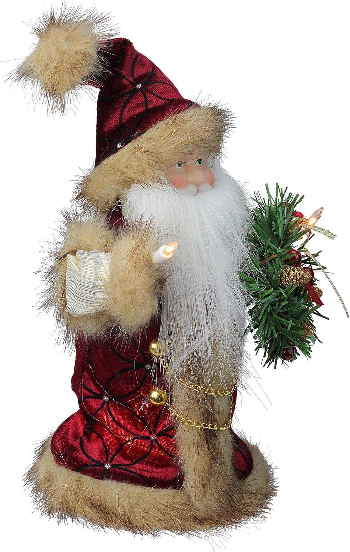 Kurt Adler 10-Light Burgundy and Brown Santa Treetop 10-Inch UL1090