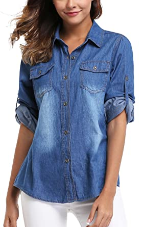 b73b59ab0 MISS MOLY Women's Long Rolled Sleeves Washed Denim Shirt with Western  Pockets Dark Blue Shirt XS