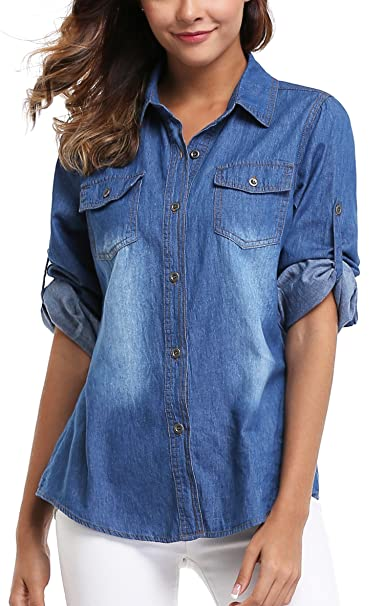 Rosie the Riveter Costume & Outfit Ideas MISS MOLY Denim Shirt Women Long Rolled Sleeves Washed Denim Jean Shirts Western Pockets $23.89 AT vintagedancer.com