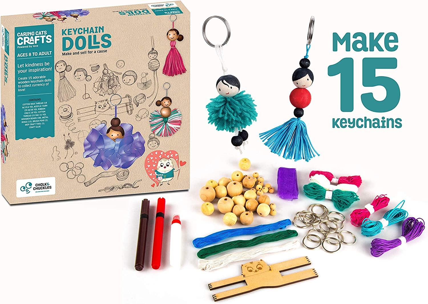 Make Yourself Activity Kit for Adults and Ages 8 Years+ Chalk and Chuckles Art and Craft Keychain Dolls Unique DIY Set with Ribbon Beads and Supplies